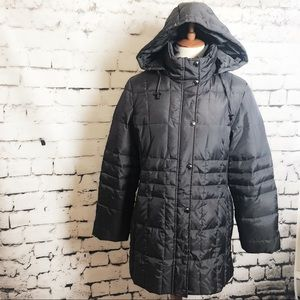 LONDON FOG Dark Gray Feather Quilted Down Coat L